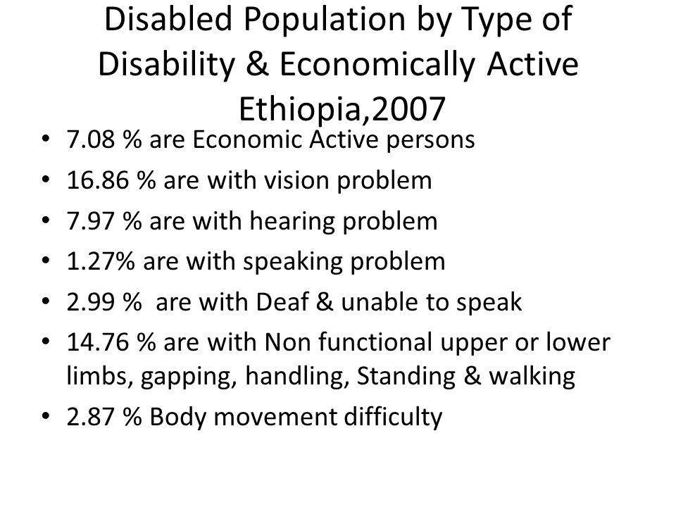 Disabled Population by Type of Disability & Economically Active Ethiopia, % are Economic Active persons % are with vision problem 7.97 % are with hearing problem 1.27% are with speaking problem 2.99 % are with Deaf & unable to speak % are with Non functional upper or lower limbs, gapping, handling, Standing & walking 2.87 % Body movement difficulty