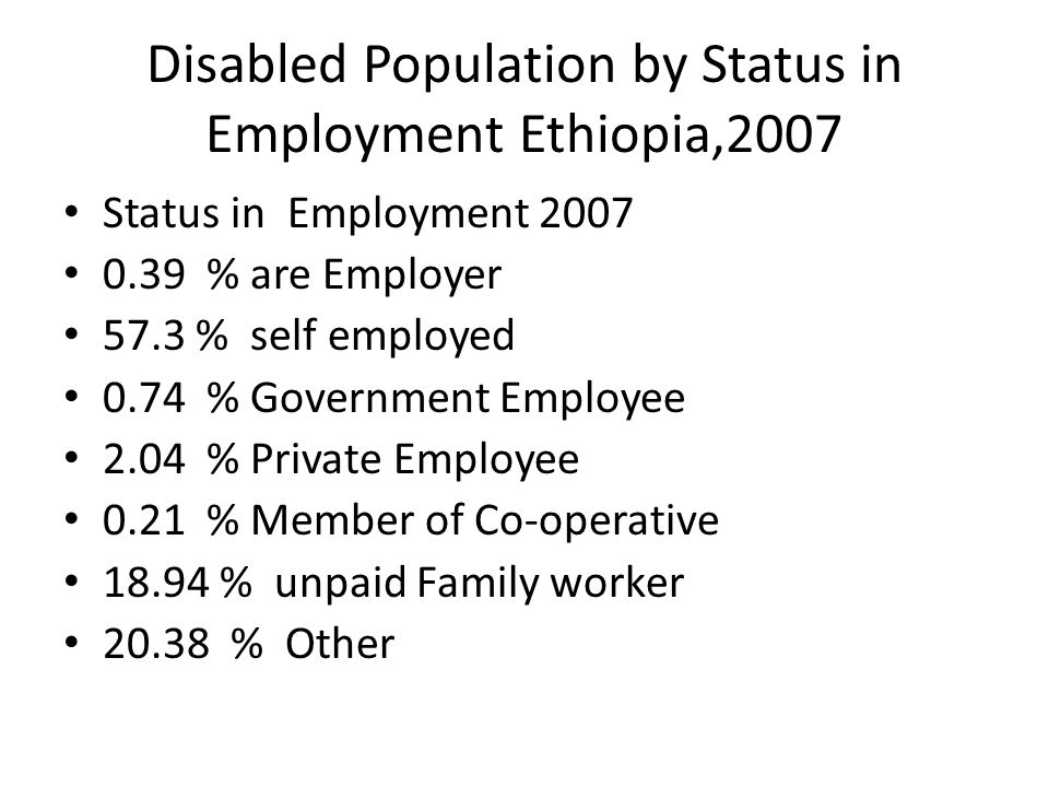 Disabled Population by Status in Employment Ethiopia,2007 Status in Employment % are Employer 57.3 % self employed 0.74 % Government Employee 2.04 % Private Employee 0.21 % Member of Co-operative % unpaid Family worker % Other