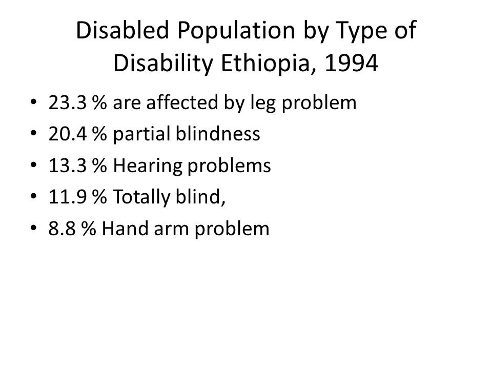 Disabled Population by Type of Disability Ethiopia, % are affected by leg problem 20.4 % partial blindness 13.3 % Hearing problems 11.9 % Totally blind, 8.8 % Hand arm problem