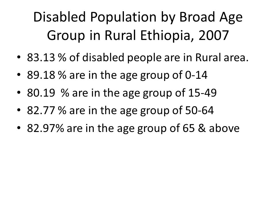 Disabled Population by Broad Age Group in Rural Ethiopia, % of disabled people are in Rural area.