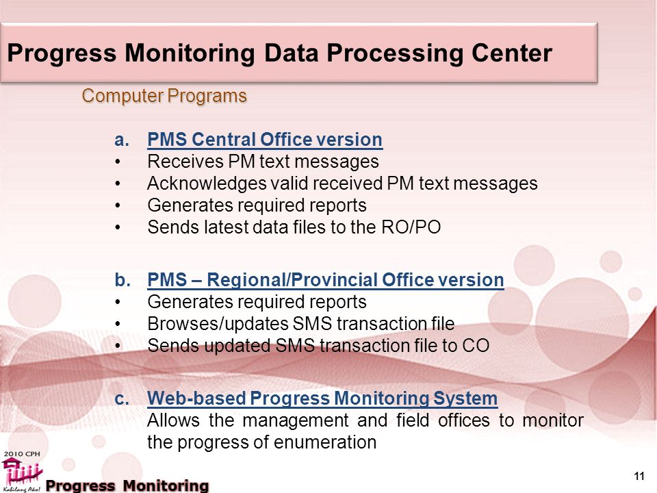 11 Computer Programs a.PMS Central Office version Receives PM text messages Acknowledges valid received PM text messages Generates required reports Sends latest data files to the RO/PO b.PMS – Regional/Provincial Office version Generates required reports Browses/updates SMS transaction file Sends updated SMS transaction file to CO c.Web-based Progress Monitoring System Allows the management and field offices to monitor the progress of enumeration Progress Monitoring Data Processing Center