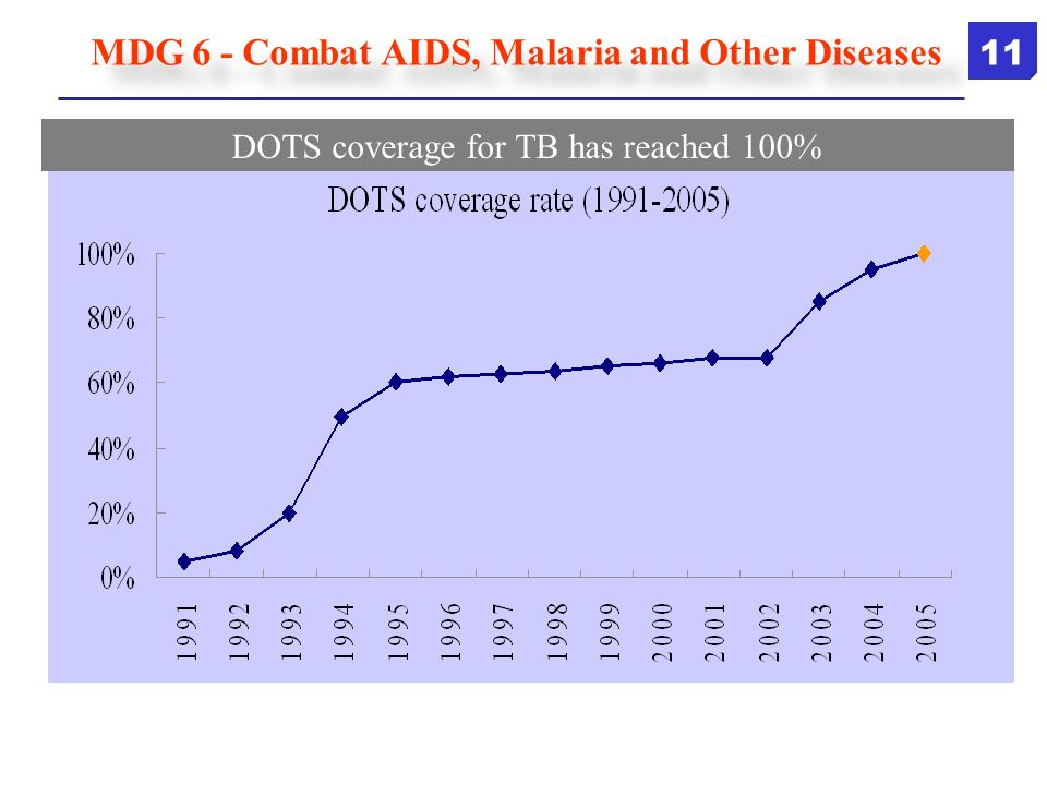 DOTS coverage for TB has reached 100% MDG 6 - Combat AIDS, Malaria and Other Diseases 11