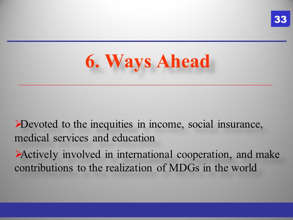 inequities Devoted to the inequities in income, social insurance, medical services and education international cooperation Actively involved in international cooperation, and make contributions to the realization of MDGs in the world inequities Devoted to the inequities in income, social insurance, medical services and education international cooperation Actively involved in international cooperation, and make contributions to the realization of MDGs in the world 6.