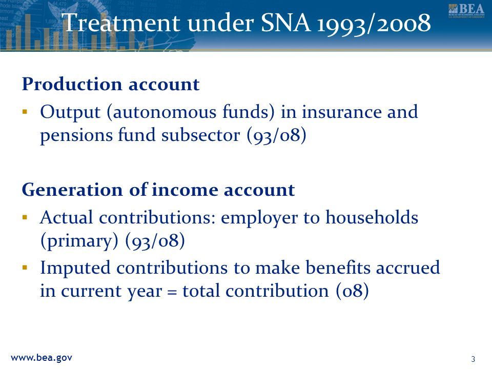 Treatment under SNA 1993/2008 Production account Output (autonomous funds) in insurance and pensions fund subsector (93/08) Generation of income account Actual contributions: employer to households (primary) (93/08) Imputed contributions to make benefits accrued in current year = total contribution (08) 3