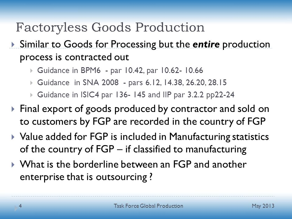 Factoryless Goods Production Similar to Goods for Processing but the entire production process is contracted out Guidance in BPM6 - par 10.42, par 10.62- 10.66 Guidance in SNA 2008 - pars 6.12, 14.38, 26.20, 28.15 Guidance in ISIC4 par 136- 145 and IIP par 3.2.2 pp22-24 Final export of goods produced by contractor and sold on to customers by FGP are recorded in the country of FGP Value added for FGP is included in Manufacturing statistics of the country of FGP – if classified to manufacturing What is the borderline between an FGP and another enterprise that is outsourcing .