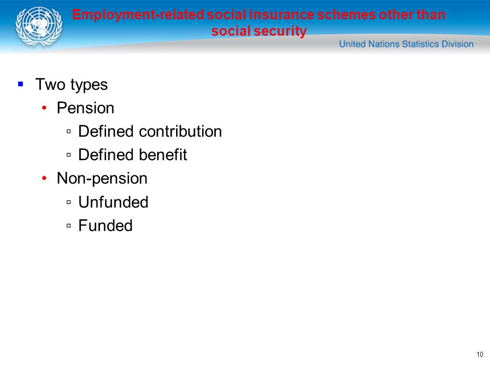 10 Two types Pension Defined contribution Defined benefit Non-pension Unfunded Funded Employment-related social insurance schemes other than social security