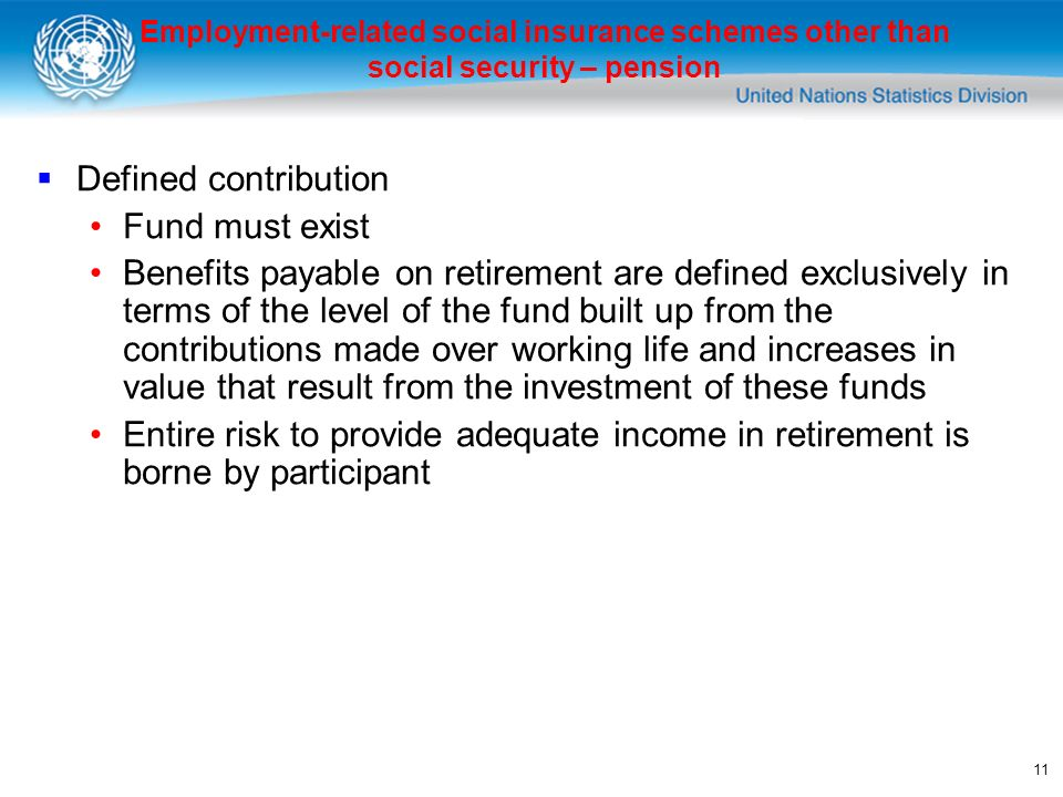 11 Defined contribution Fund must exist Benefits payable on retirement are defined exclusively in terms of the level of the fund built up from the contributions made over working life and increases in value that result from the investment of these funds Entire risk to provide adequate income in retirement is borne by participant Employment-related social insurance schemes other than social security – pension