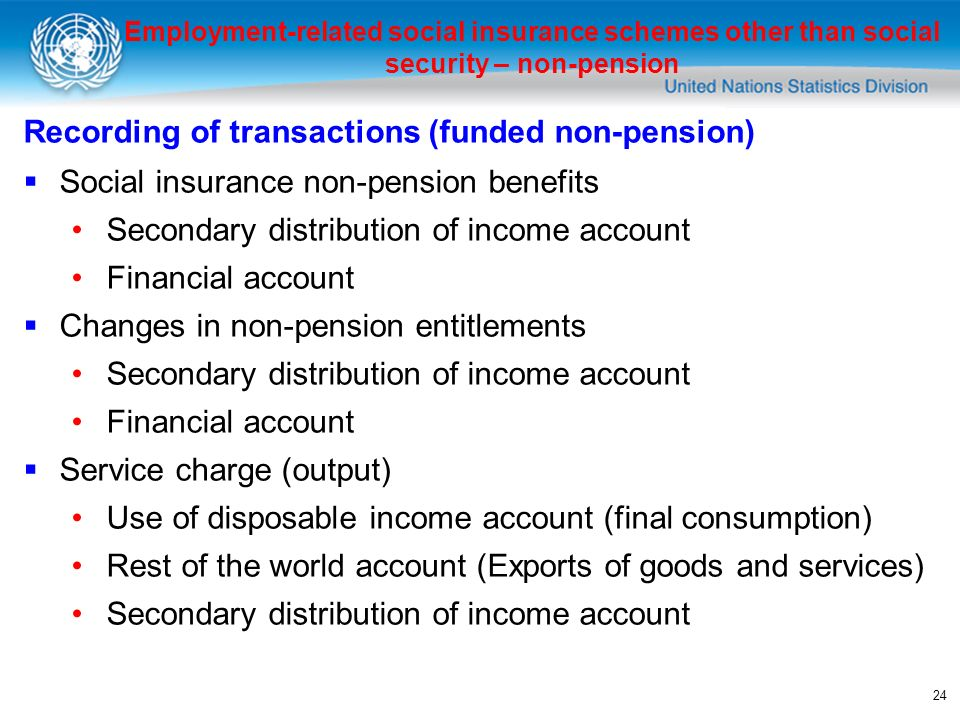 24 Recording of transactions (funded non-pension) Social insurance non-pension benefits Secondary distribution of income account Financial account Changes in non-pension entitlements Secondary distribution of income account Financial account Service charge (output) Use of disposable income account (final consumption) Rest of the world account (Exports of goods and services) Secondary distribution of income account Employment-related social insurance schemes other than social security – non-pension