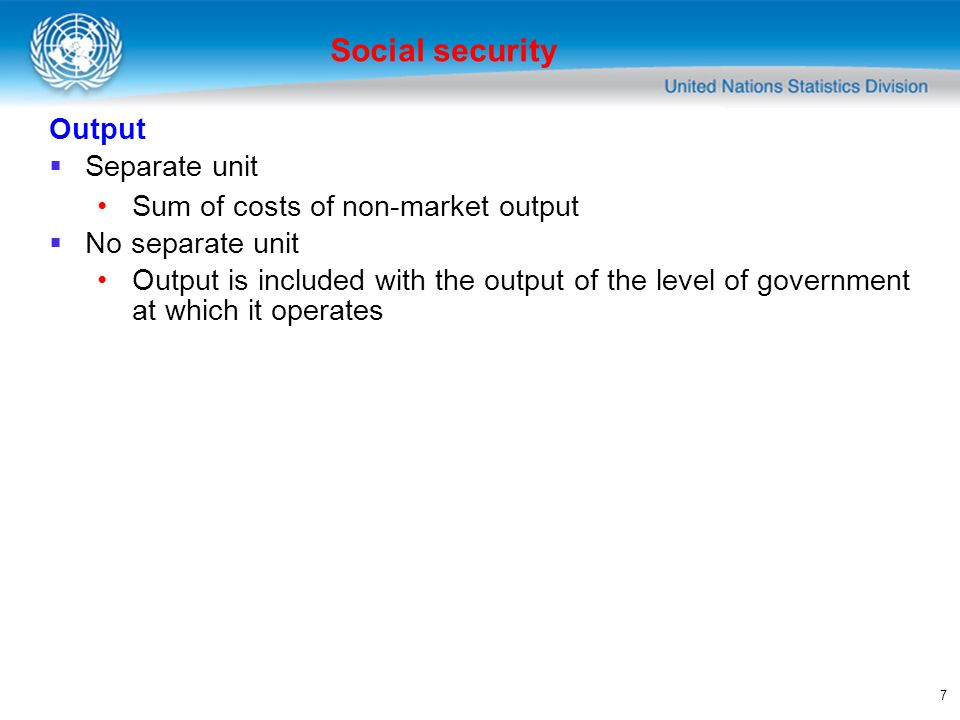 7 Output Separate unit Sum of costs of non-market output No separate unit Output is included with the output of the level of government at which it operates Social security