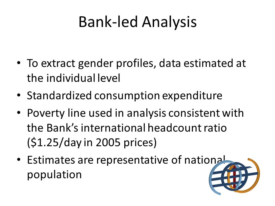 Bank-led Analysis To extract gender profiles, data estimated at the individual level Standardized consumption expenditure Poverty line used in analysis consistent with the Banks international headcount ratio ($1.25/day in 2005 prices) Estimates are representative of national population