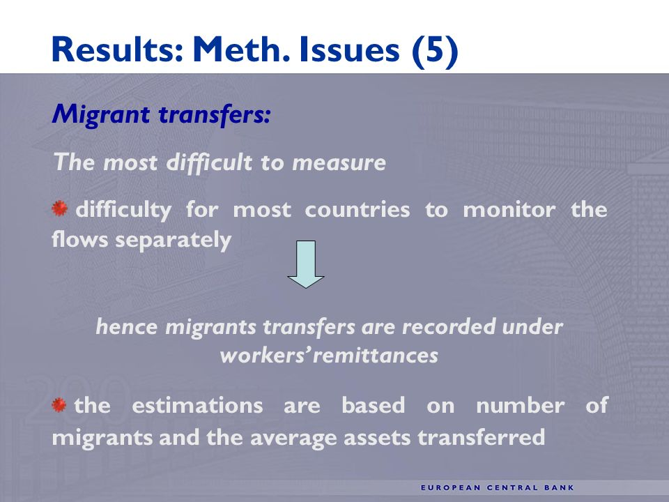 Migrant transfers: The most difficult to measure difficulty for most countries to monitor the flows separately hence migrants transfers are recorded under workers remittances the estimations are based on number of migrants and the average assets transferred Results: Meth.
