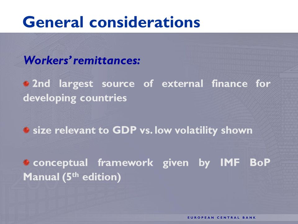 Workers remittances: 2nd largest source of external finance for developing countries size relevant to GDP vs.