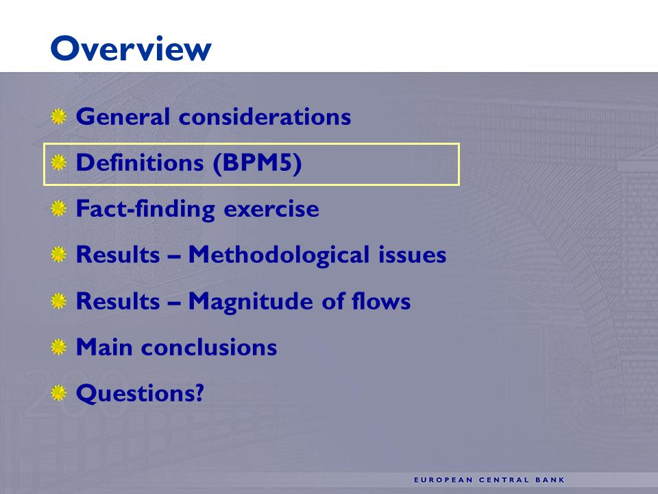Definitions (BPM5) Fact-finding exercise Results – Methodological issues Results – Magnitude of flows Main conclusions Questions.