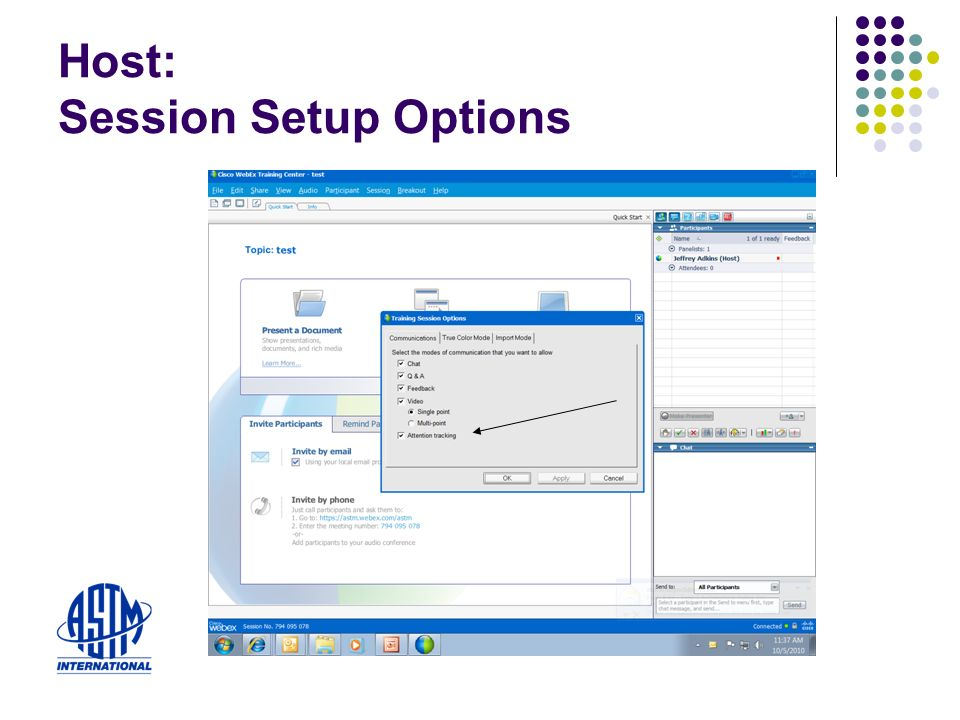 Host: Session Setup Options