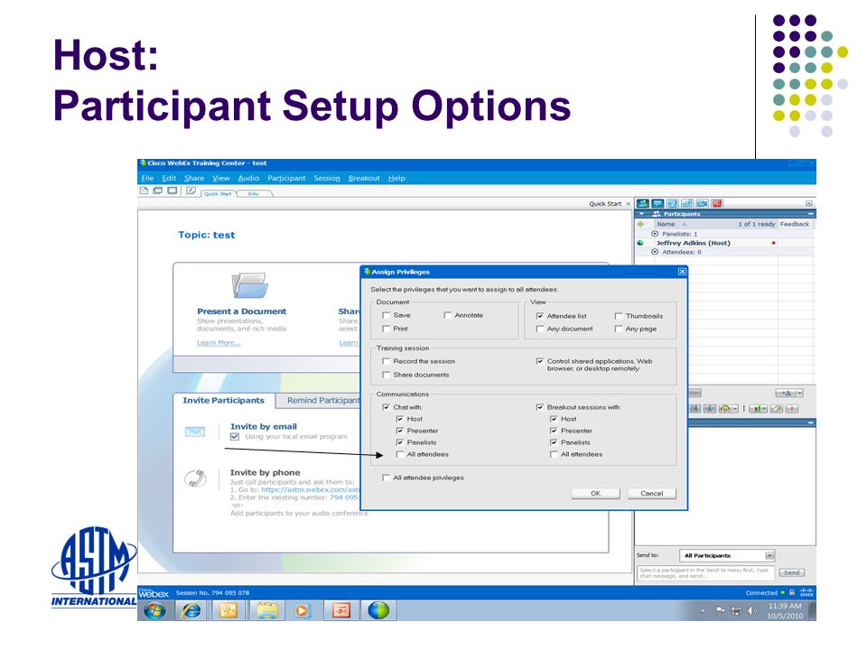 Host: Participant Setup Options