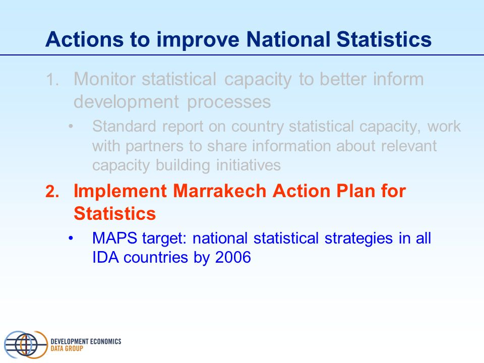 Actions to improve National Statistics 1.