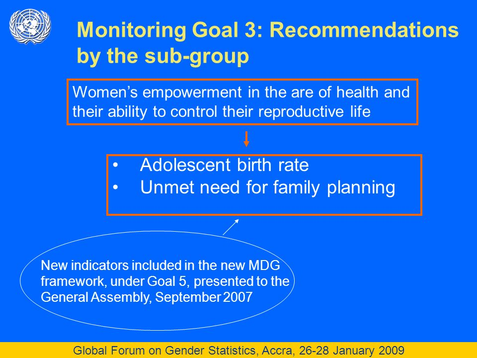 Global Forum on Gender Statistics, Accra, 26-28 January 2009 Adolescent birth rate Unmet need for family planning Monitoring Goal 3: Recommendations by the sub-group Womens empowerment in the are of health and their ability to control their reproductive life New indicators included in the new MDG framework, under Goal 5, presented to the General Assembly, September 2007