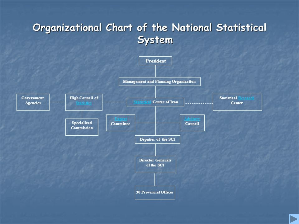 Organizational Chart of the National Statistical System President Management and Planning Organization StatisticalStatistical Center of Iran High Council of Statistics Government Agencies Statistical Research CenterResearch Deputies of the SCI Director Generals of the SCI Advisory Council Expert Committee Specialized Commission 30 Provincial Offices