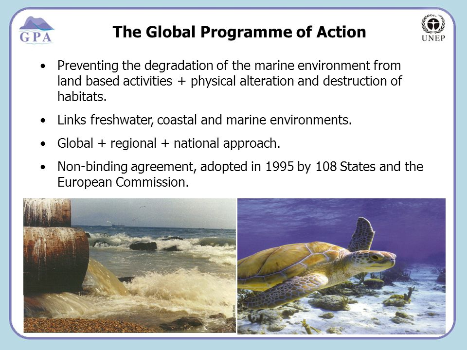 Insert Page Title here Insert Page Content Here The Global Programme of Action Preventing the degradation of the marine environment from land based activities + physical alteration and destruction of habitats.