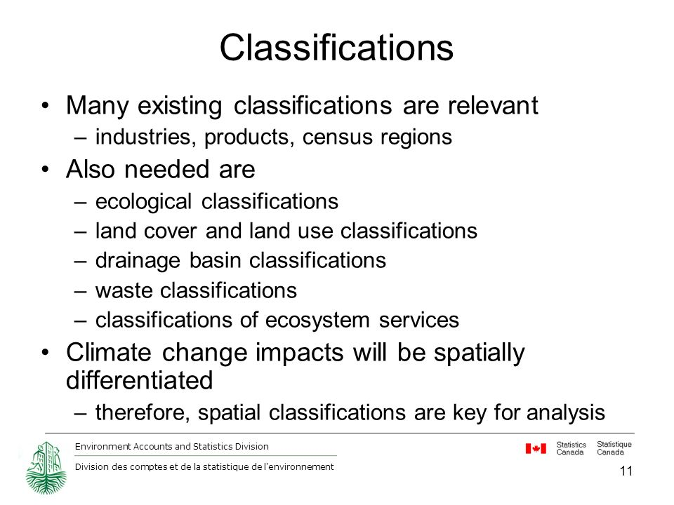 Environment Accounts and Statistics Division Division des comptes et de la statistique de l environnement 11 Classifications Many existing classifications are relevant –industries, products, census regions Also needed are –ecological classifications –land cover and land use classifications –drainage basin classifications –waste classifications –classifications of ecosystem services Climate change impacts will be spatially differentiated –therefore, spatial classifications are key for analysis