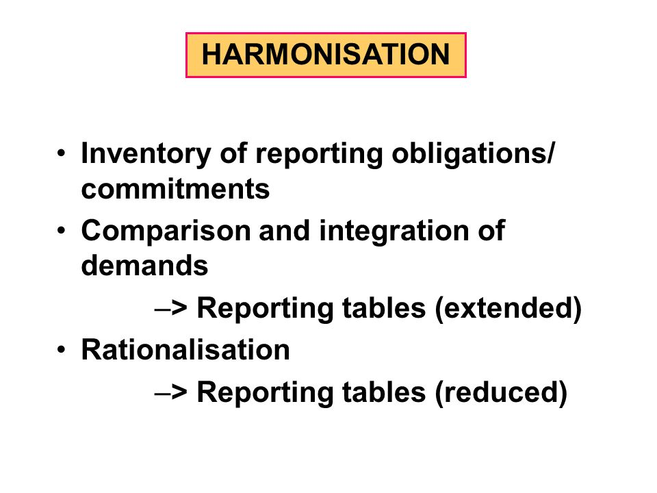 HARMONISATION Inventory of reporting obligations/ commitments Comparison and integration of demands –> Reporting tables (extended) Rationalisation –> Reporting tables (reduced)