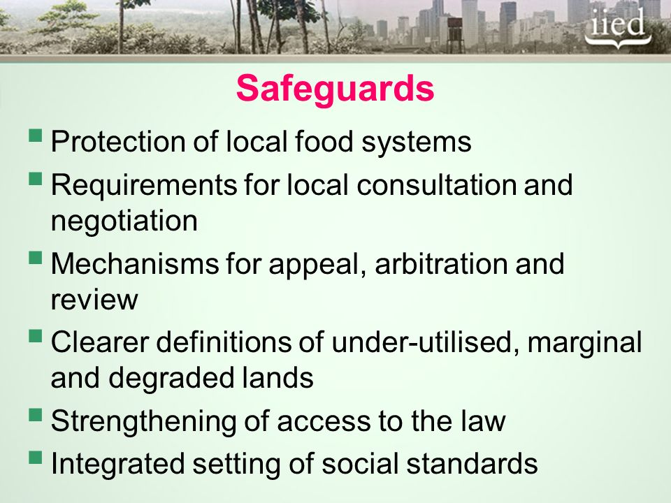 Safeguards Protection of local food systems Requirements for local consultation and negotiation Mechanisms for appeal, arbitration and review Clearer definitions of under-utilised, marginal and degraded lands Strengthening of access to the law Integrated setting of social standards