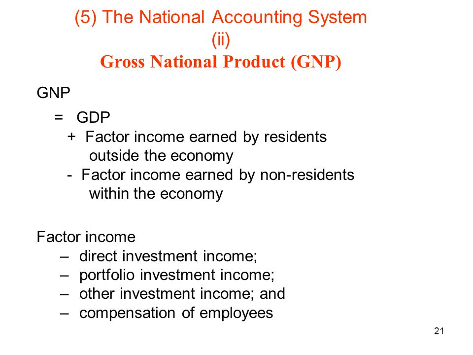 21 (5) The National Accounting System (ii) Gross National Product (GNP) GNP = GDP + Factor income earned by residents outside the economy - Factor income earned by non-residents within the economy Factor income – direct investment income; – portfolio investment income; – other investment income; and – compensation of employees
