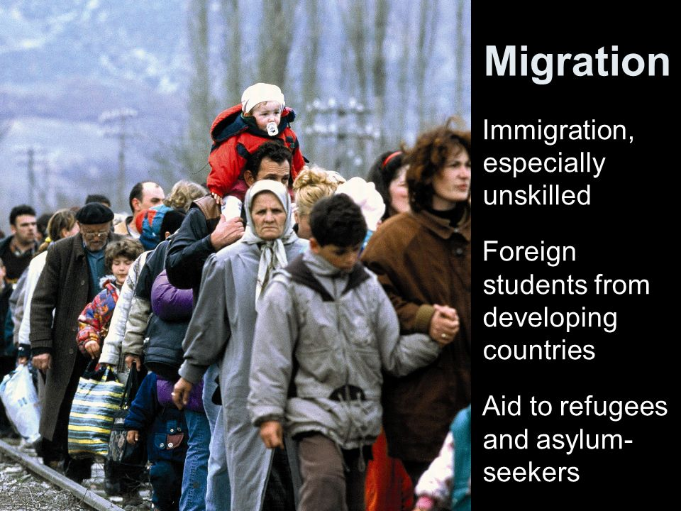 Migration Immigration, especially unskilled Foreign students from developing countries Aid to refugees and asylum- seekers