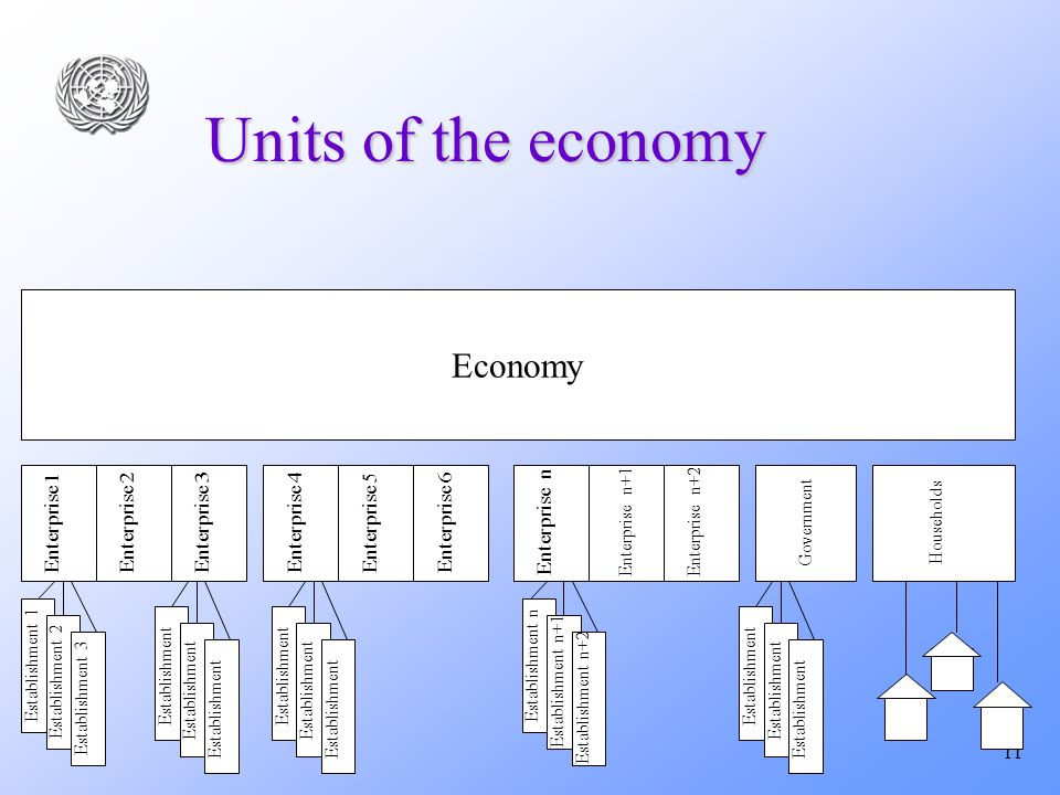 11 Units of the economy Economy Enterprise 1Enterprise 2Enterprise 5Enterprise 3Enterprise 4 Establishment 1 Enterprise 6 Enterprise n+1 Enterprise n Enterprise n+2 Establishment 2 Establishment 3 Establishment Establishment n Establishment n+1 Establishment n+2 Households Government Establishment