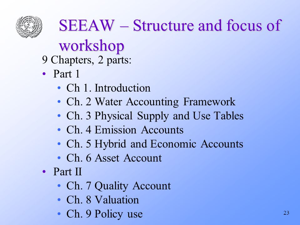 23 SEEAW – Structure and focus of workshop 9 Chapters, 2 parts: Part 1 Ch 1.