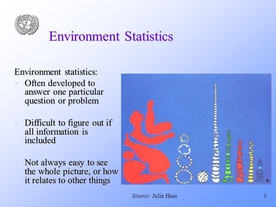 3 Environment Statistics Environment statistics: Often developed to answer one particular question or problemOften developed to answer one particular question or problem Difficult to figure out if all information is includedDifficult to figure out if all information is included Not always easy to see the whole picture, or how it relates to other thingsNot always easy to see the whole picture, or how it relates to other things Source: Julie Hass