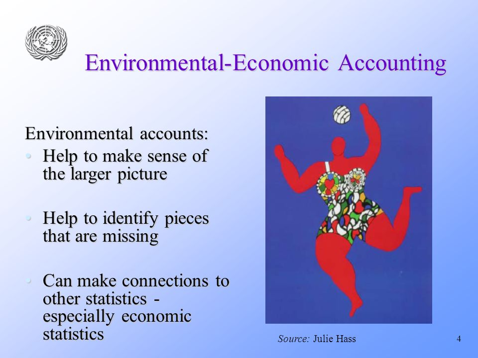 4 Environmental-Economic Accounting Environmental accounts: Help to make sense of the larger pictureHelp to make sense of the larger picture Help to identify pieces that are missingHelp to identify pieces that are missing Can make connections to other statistics - especially economic statisticsCan make connections to other statistics - especially economic statistics Source: Julie Hass