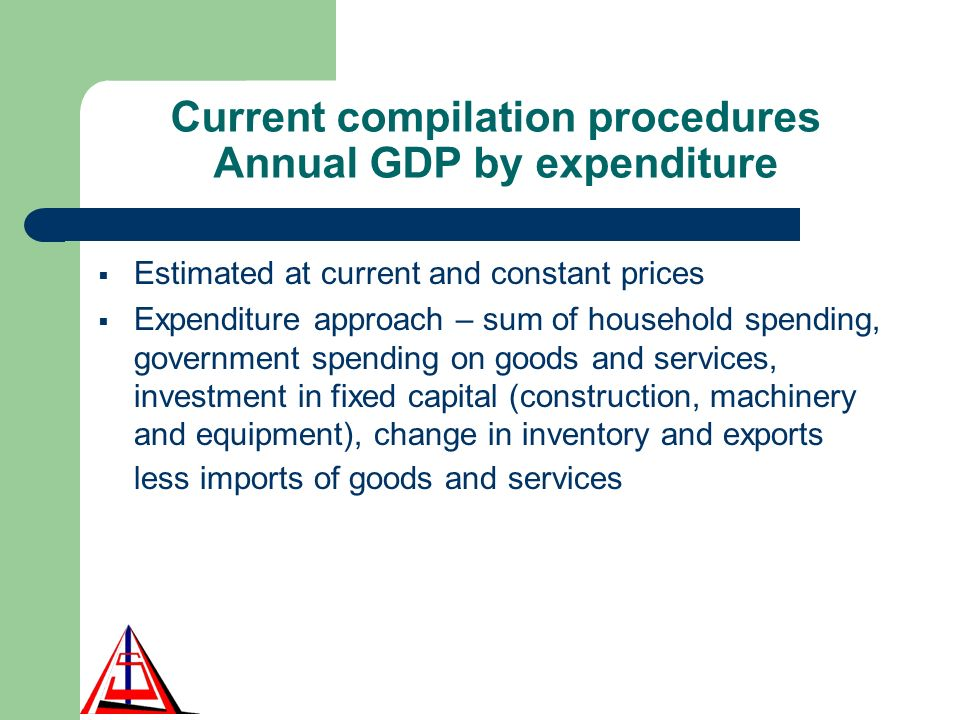 Current compilation procedures Annual GDP by expenditure Estimated at current and constant prices Expenditure approach – sum of household spending, government spending on goods and services, investment in fixed capital (construction, machinery and equipment), change in inventory and exports less imports of goods and services