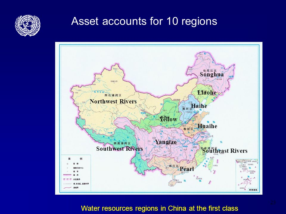 23 Asset accounts for 10 regions Water resources regions in China at the first class Northwest Rivers Songhua Liaohe Haihe Yellow Yangtze Huaihe Southeast Rivers Southwest Rivers Pearl