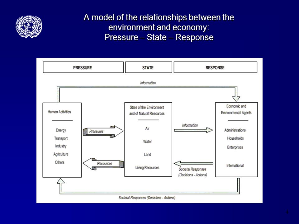 4 A model of the relationships between the environment and economy: Pressure – State – Response