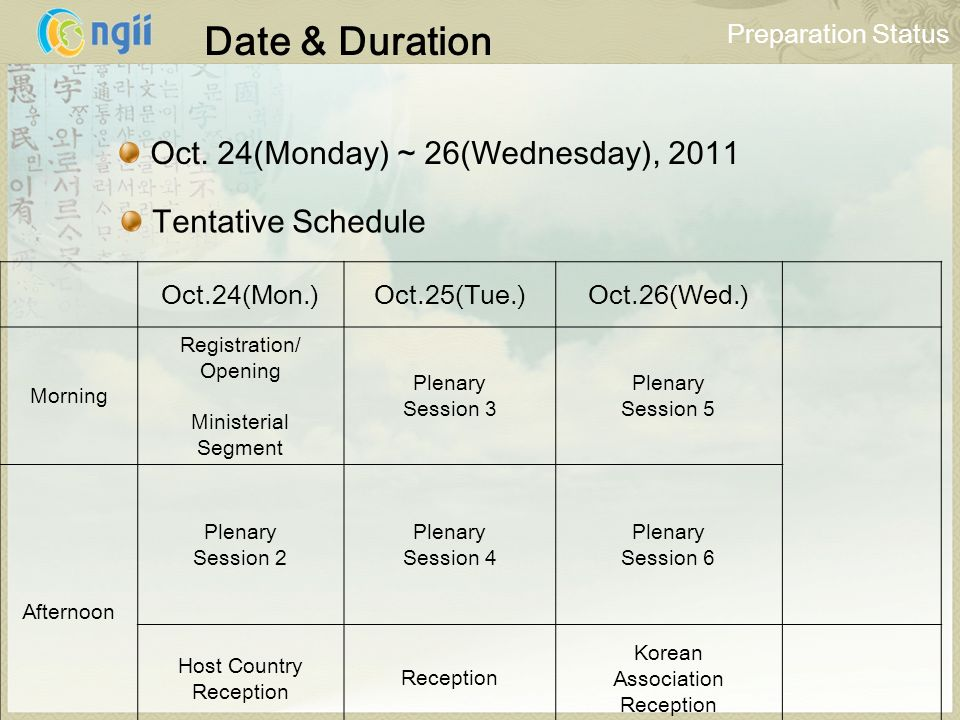 Date & Duration Oct.