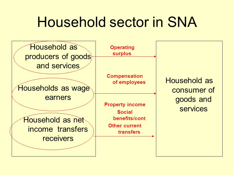 Household sector in SNA Household as producers of goods and services Households as wage earners Household as net income transfers receivers Household as consumer of goods and services Operating surplus Compensation of employees Property income Social benefits/cont Other current transfers