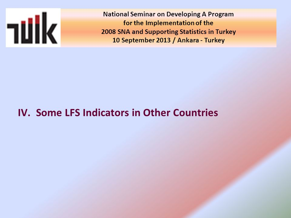 IV.Some LFS Indicators in Other Countries National Seminar on Developing A Program for the Implementation of the 2008 SNA and Supporting Statistics in Turkey 10 September 2013 / Ankara - Turkey