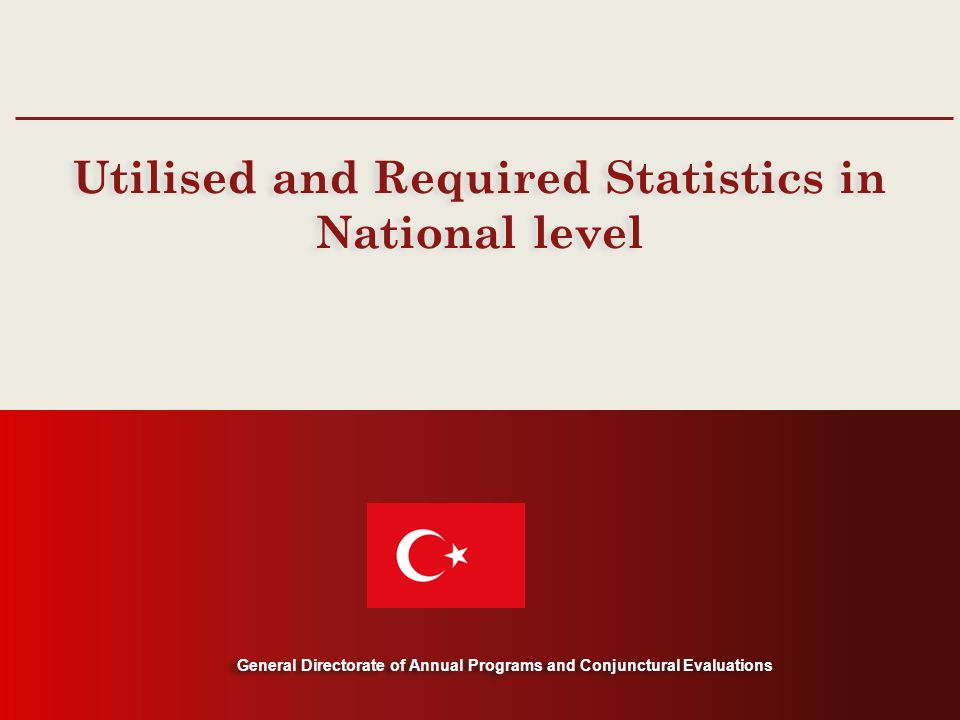 General Directorate of Annual Programs and Conjunctural Evaluations Utilised and Required Statistics in National level General Directorate of Annual Programs and Conjunctural Evaluations
