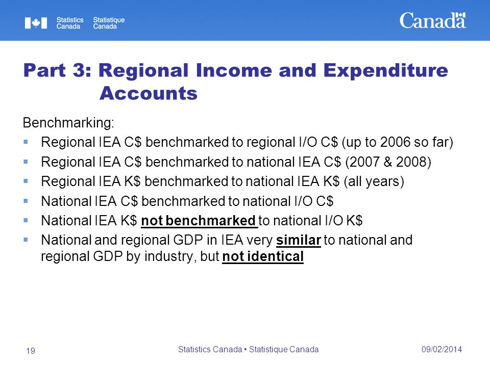 09/02/2014 Statistics Canada Statistique Canada 19 Part 3: Regional Income and Expenditure Accounts Benchmarking: Regional IEA C$ benchmarked to regional I/O C$ (up to 2006 so far) Regional IEA C$ benchmarked to national IEA C$ (2007 & 2008) Regional IEA K$ benchmarked to national IEA K$ (all years) National IEA C$ benchmarked to national I/O C$ National IEA K$ not benchmarked to national I/O K$ National and regional GDP in IEA very similar to national and regional GDP by industry, but not identical