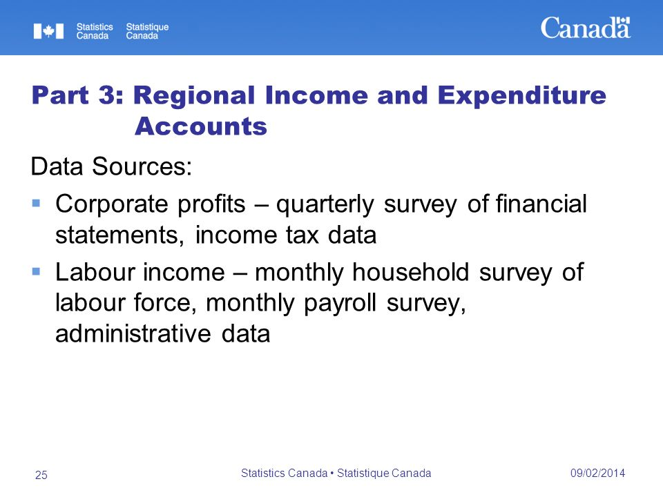 09/02/2014 Statistics Canada Statistique Canada 25 Part 3: Regional Income and Expenditure Accounts Data Sources: Corporate profits – quarterly survey of financial statements, income tax data Labour income – monthly household survey of labour force, monthly payroll survey, administrative data