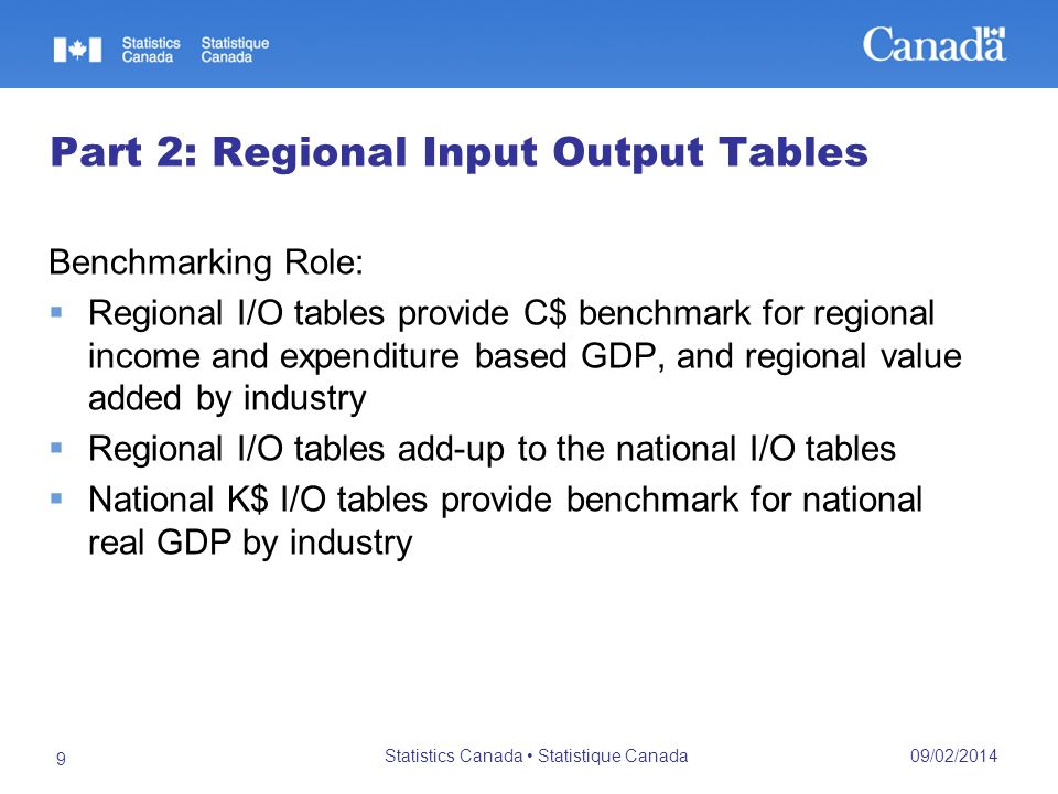09/02/2014 Statistics Canada Statistique Canada 9 Part 2: Regional Input Output Tables Benchmarking Role: Regional I/O tables provide C$ benchmark for regional income and expenditure based GDP, and regional value added by industry Regional I/O tables add-up to the national I/O tables National K$ I/O tables provide benchmark for national real GDP by industry
