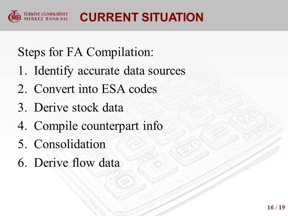 CURRENT SITUATION Steps for FA Compilation: 1.Identify accurate data sources 2.Convert into ESA codes 3.Derive stock data 4.Compile counterpart info 5.Consolidation 6.Derive flow data 16 / 19