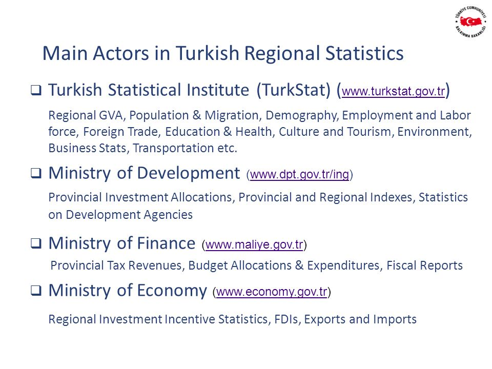 Turkish Statistical Institute (TurkStat) ( www.turkstat.gov.tr ) www.turkstat.gov.tr Regional GVA, Population & Migration, Demography, Employment and Labor force, Foreign Trade, Education & Health, Culture and Tourism, Environment, Business Stats, Transportation etc.
