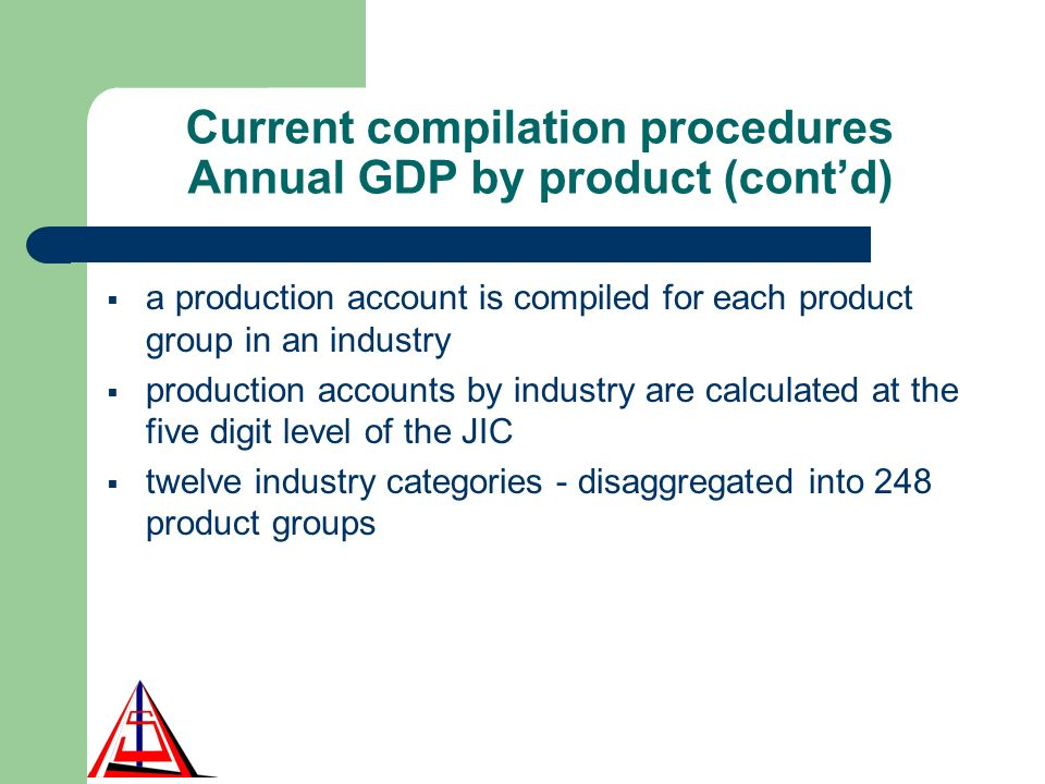 Current compilation procedures Annual GDP by product (contd) a production account is compiled for each product group in an industry production accounts by industry are calculated at the five digit level of the JIC twelve industry categories - disaggregated into 248 product groups