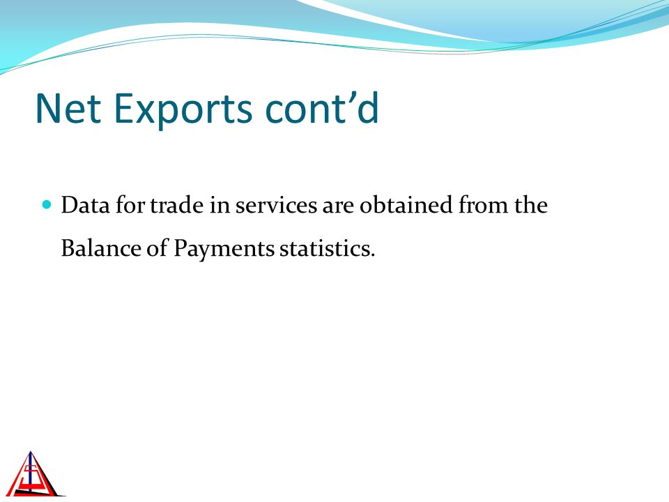 Net Exports contd Data for trade in services are obtained from the Balance of Payments statistics.