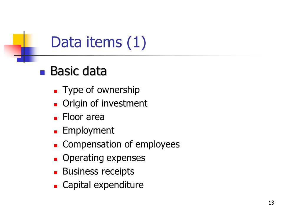 13 Data items (1) Basic data Basic data Type of ownership Origin of investment Floor area Employment Compensation of employees Operating expenses Business receipts Capital expenditure