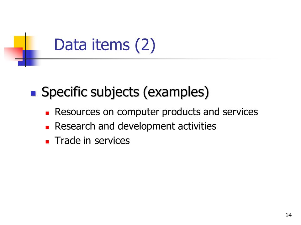 14 Data items (2) Specific subjects (examples) Specific subjects (examples) Resources on computer products and services Research and development activities Trade in services