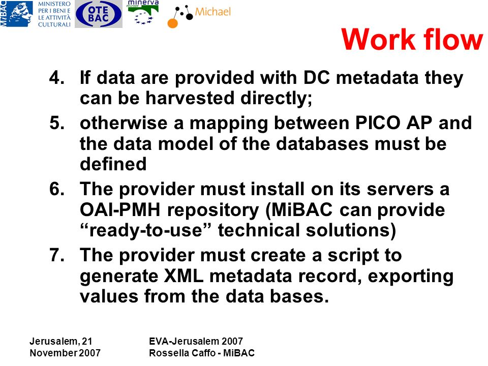 Jerusalem, 21 November 2007 EVA-Jerusalem 2007 Rossella Caffo - MiBAC 4.If data are provided with DC metadata they can be harvested directly; 5.otherwise a mapping between PICO AP and the data model of the databases must be defined 6.The provider must install on its servers a OAI-PMH repository (MiBAC can provide ready-to-use technical solutions) 7.The provider must create a script to generate XML metadata record, exporting values from the data bases.
