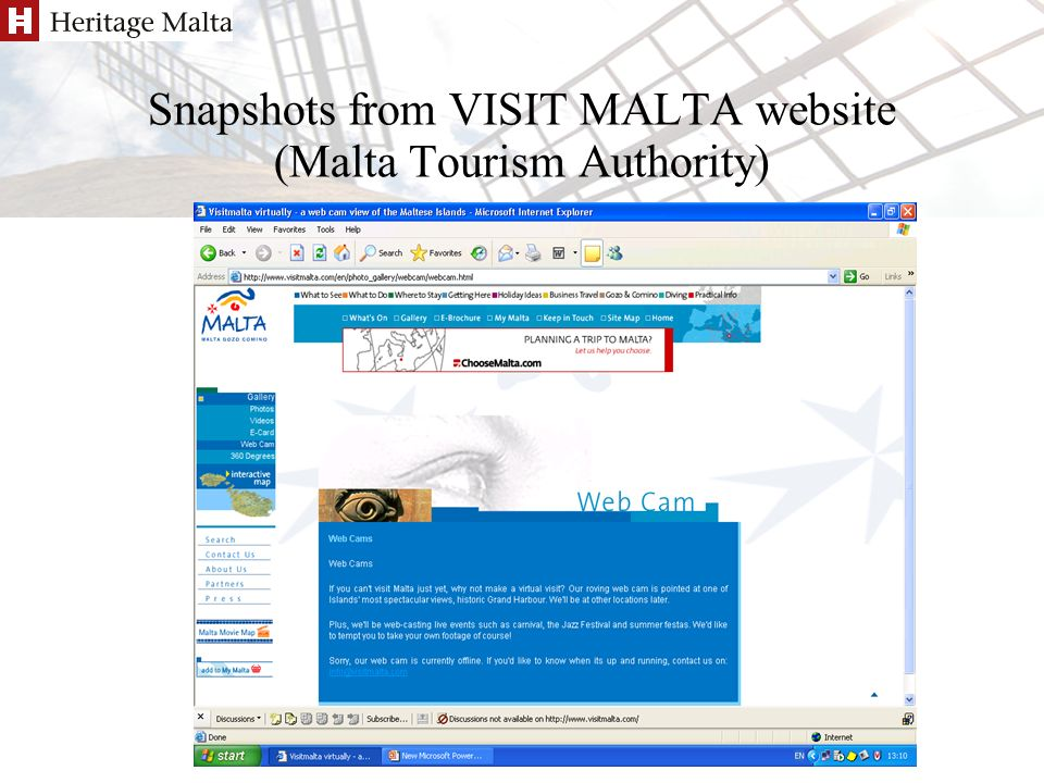 Antoinette Caruana/Pierre Sammut Berlin 7-8 Apr 2005 Snapshots from VISIT MALTA website (Malta Tourism Authority)